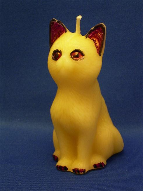 Quality Beeswax Hand Painted Cat Candle