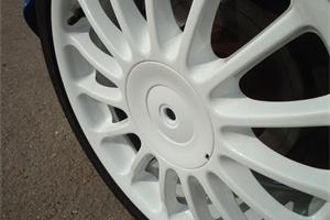 White Sparkle powder coated wheel. White also available in matt, satin and gloss finish