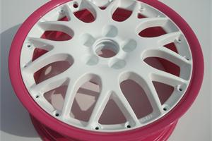 Split rim powder coated white sparkle in the centre, and pink sparkle on the rim