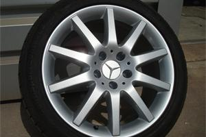 Mercedes wheel refurbished in silver metallic and tyres refitted and balanced on completion