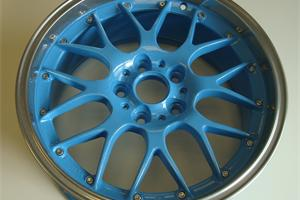 Fake split rims refurbished with light blue centre and chrome rim finished with a sparkle lacquer