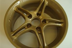Old Skyline wheels refurbished in light metallic gold powder coated finish