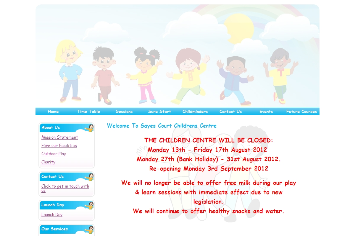 TimeTable Sayes Court Childrens Centre