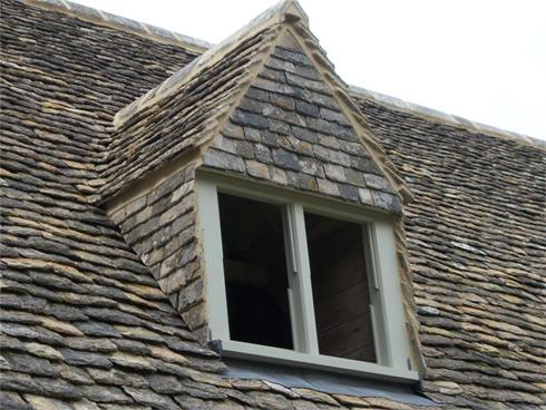 Dormer with Gable & Cheeks tiled in Cotswold Stone Tiles