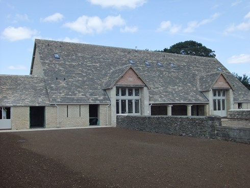 Stone tiled roof on a new barn conversion