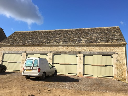 Stoned tiled roof on new garages
