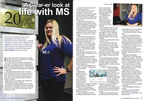 MS, UK, Kaz aston, 21 today, charity, multiple sclerosis, london, ms clear guide