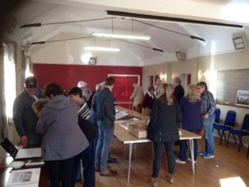 Blackborough Village Hall Scale model and plans being shown to local residents