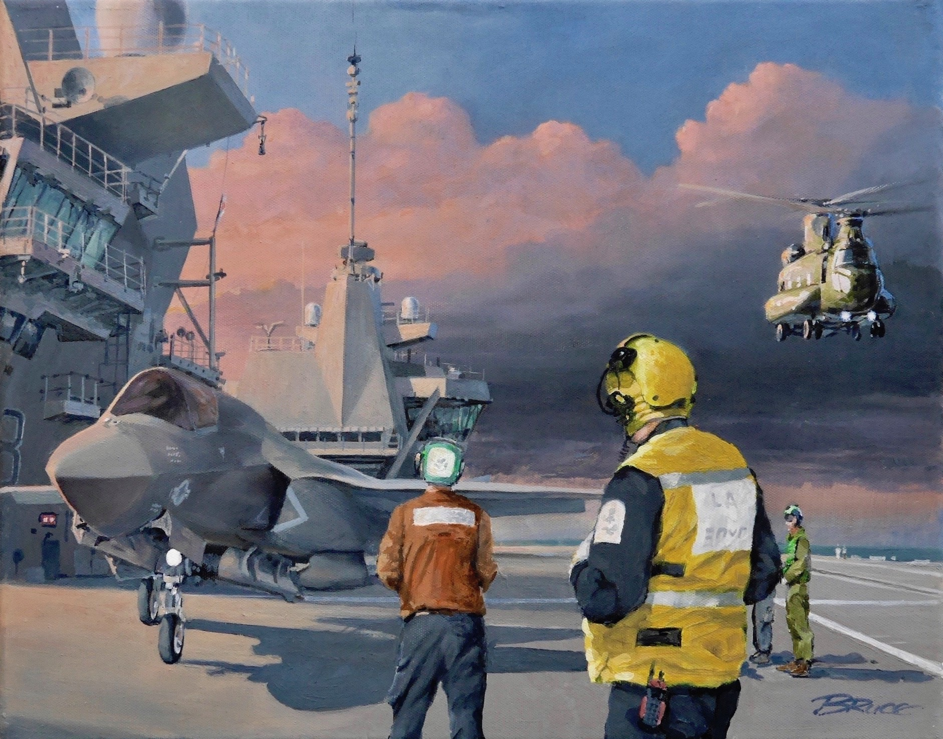 Allies. HMS Queen Elisabeth off the Southern United States with US Marines F35b and deck crew with RAF Chinook coming into land on our right