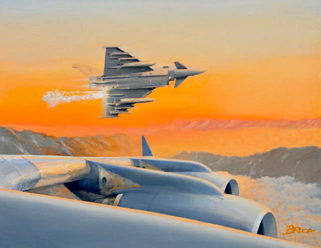 Decoy.RAF Typhoon all tanked up and ready. Escorting a RAF C17 Port wing