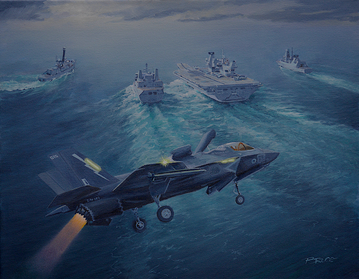 HMS Queen Elizabeth with escorts on right type 45 Destroyer and on left type 25 Frigate with beast mode F35bp preparing for a rolling landing.