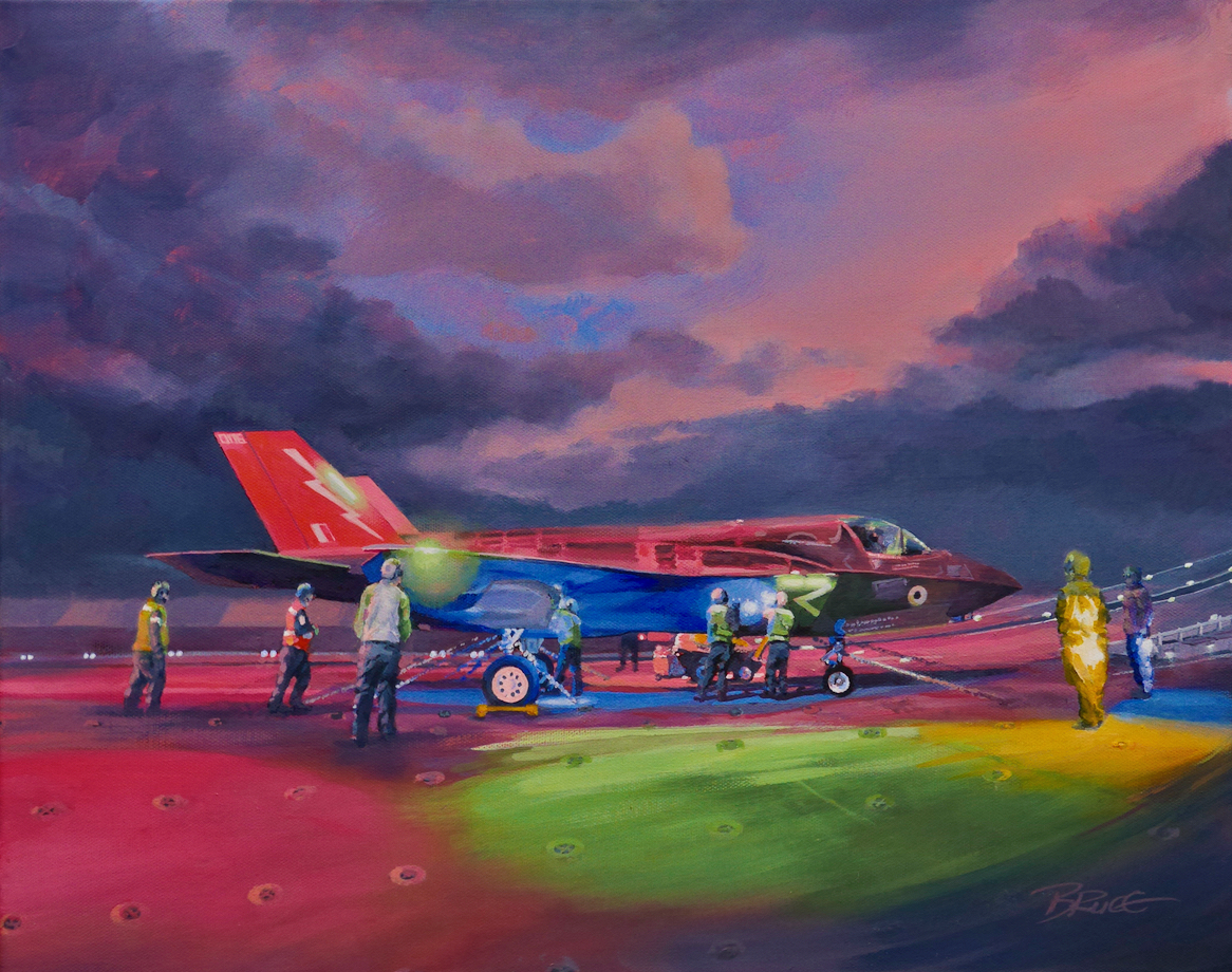 LEDs galoreF35b Lightning of the Dambusters Squdron RAF on a stormy flight deck of HMS Queen Elizabeth
