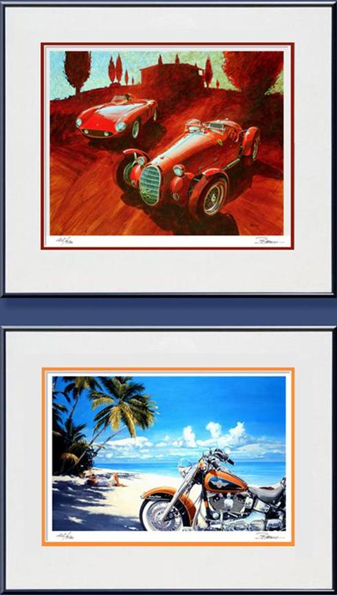 Ferrari 750 Monza and Alfa Romero 8c 2.8 and a 2nd print of a Harley-Davidson lovers