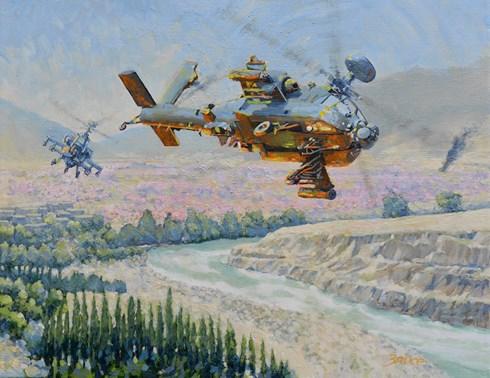 Afgan poppies. Boeing Apachi.