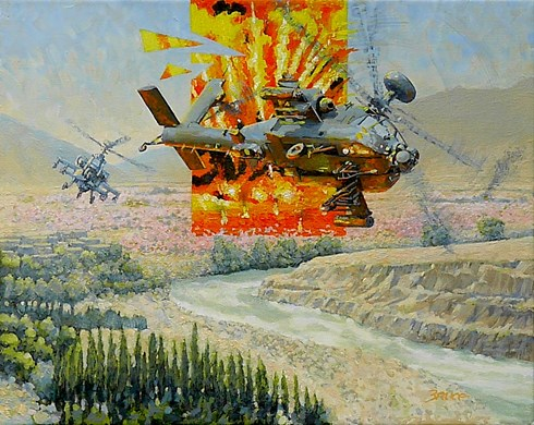 Afgan Poppies. Apache Attack Helicopters.