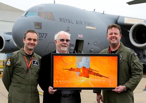 Ebola. Unsung Heroes. RAF Museum Award winning painting presented to 99 Squadron at Brize Norton in recognition of the Squadron's Ebola missions.