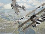 Fokker Triplane attacking a Bristol F2 over the river Somme in France in a painting by Bruce Mackay