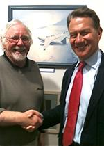 The Artist with Michael Portillo after having received the Royal Air Force Museum's Prize at the Aviation Paintings of the Year held at the Mall Galleries, London