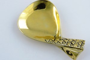 Alex Styles designed this spoon as an early Society Commission. Stylised 'Eagle's Wing', only known gilded example.  Garrard & Co Ltd, London 1967.