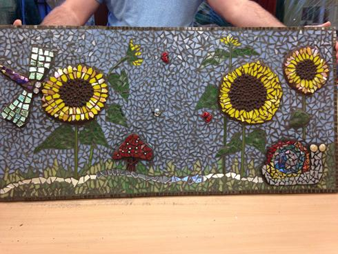 Sunflower, summer mosaic for mental health unit