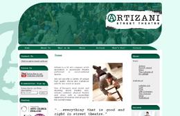 Artizani - Street theatre web design by Toolkit Websites, Southampton