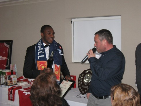 Michail Antonio collects his  2014/15 player of the year  award from the Scandinavian  branch.