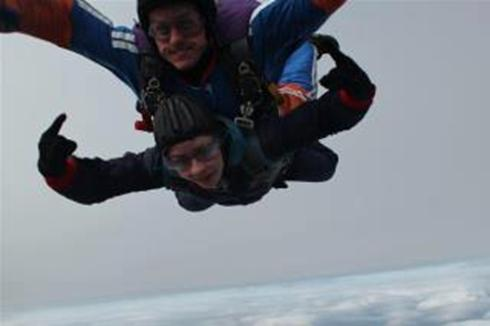Casey Donovan did a sky dive in April 2012 to raise money for Friends of PICU!