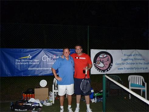 Luke Parry and Paul Rocket complete their 15 hours of non-stop tennis, raising over £500 for Friends of PICU
