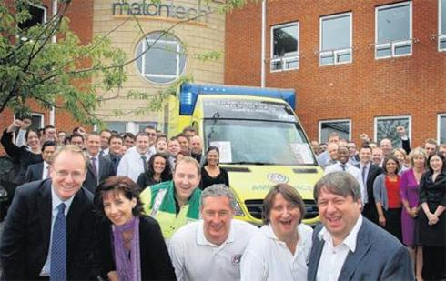 Matchtech CEO Keith Lewis, left, with PICU patron Ali Sparks, critical care technologist Richard Scott, PICU's Mark Hilder, PICU's Rosie Mitchell and PICU chairman Tony Palombo, launch the ambulance at the Matchtech HQ in Whiteley
