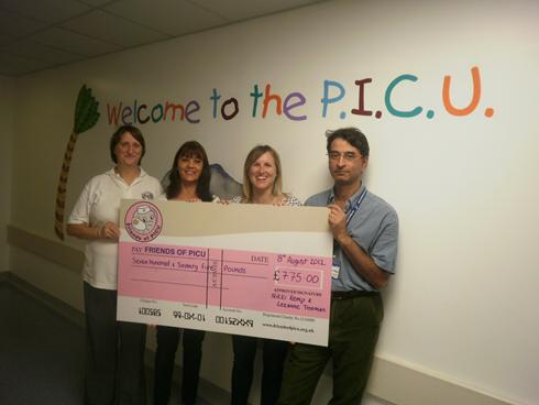 Nicola Kemp, Leanne Trotter, Rosie Mitchell and John Papperchan. Nicola and Leanne presented Friends of PICU with a cheque for £775.00 after a pampered chef evening!