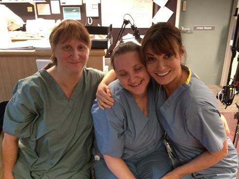 Rosie, Phillipa and Sarah Parish on set of Monroe
