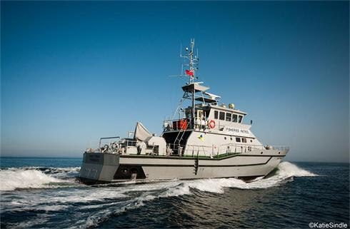 Fisheries patrol vessel Saint Piran at sea.