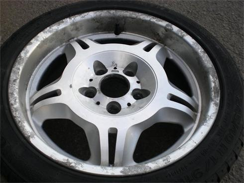 Typical condition wheel before refinishing, tyre will be removed and refitted/balanced upon completion.