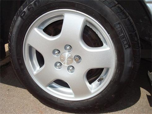 Silver finish subaru - note 'sticky' balance weights are used on all alloy refurb's