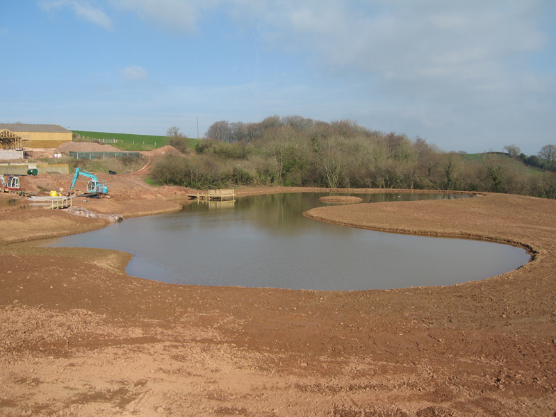 Large lake fitted with a liner and decking in Somerset