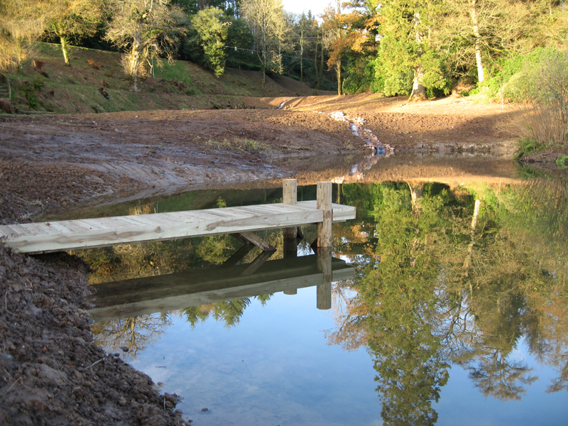 Jetty constructed on a lake after restoration project in Somerset