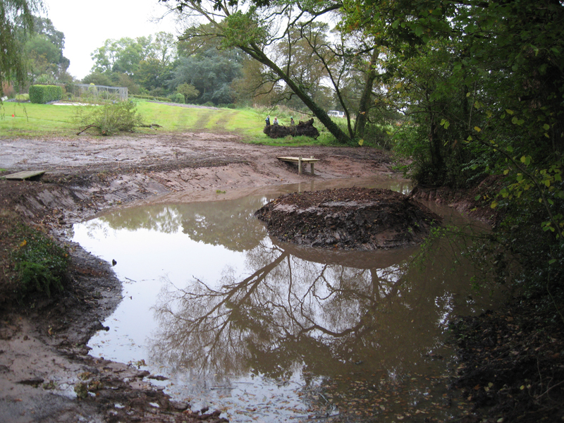 Desilting a large pond near Honiton Devon