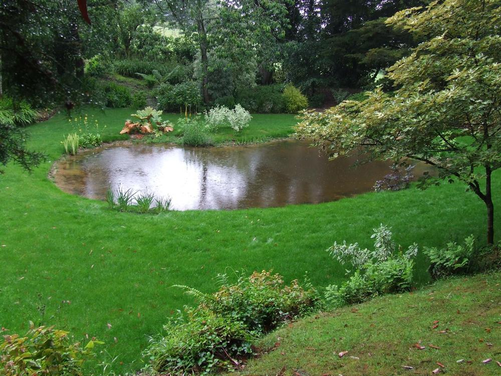 Large garden pond with butyl liner installed