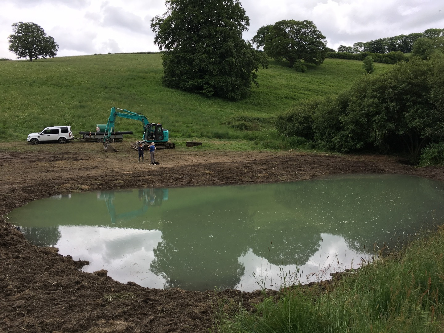 Large wildlife pond constructed in Somerset