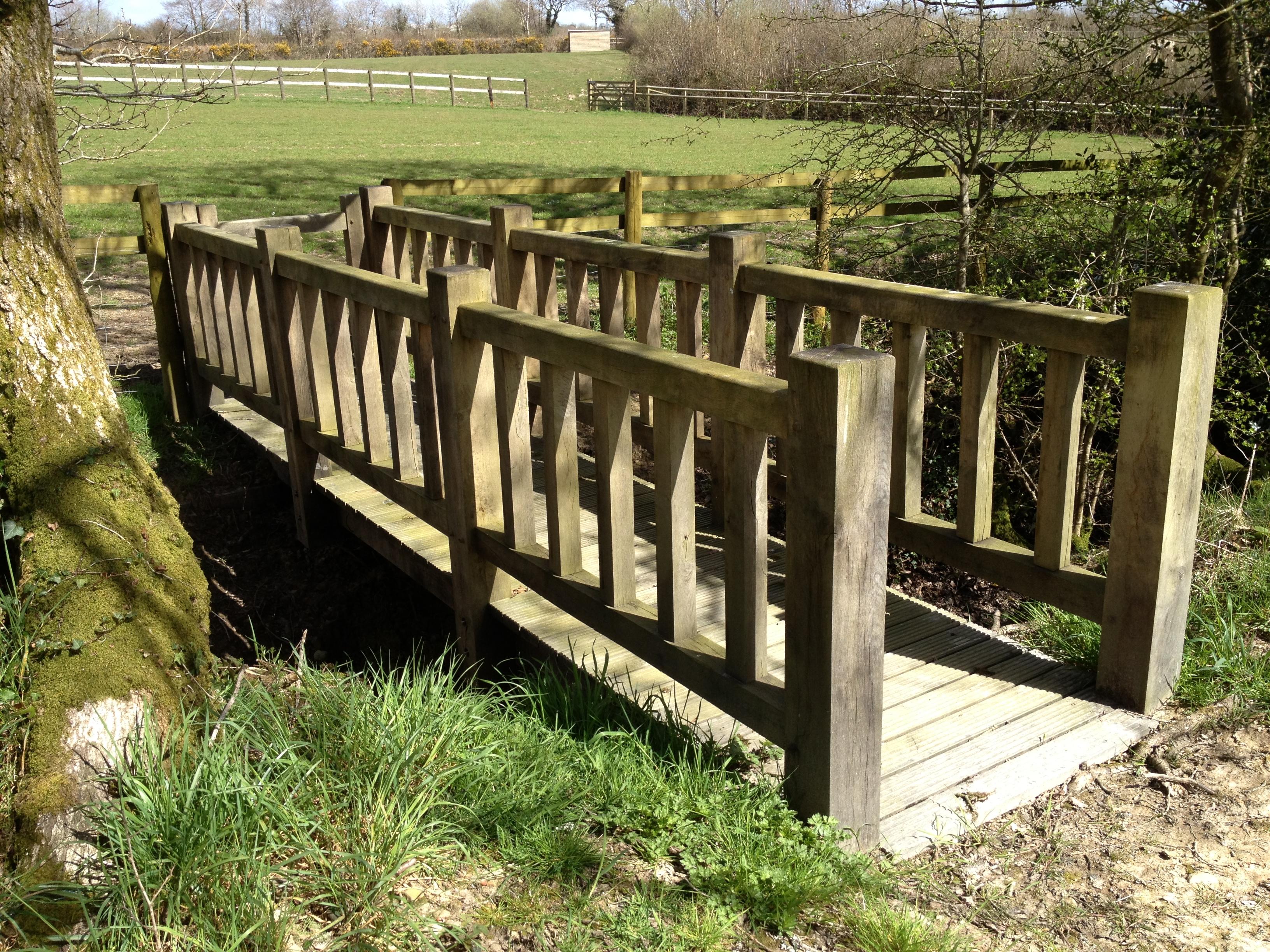 Oak Bridge installed over stream in Holsworthy devon