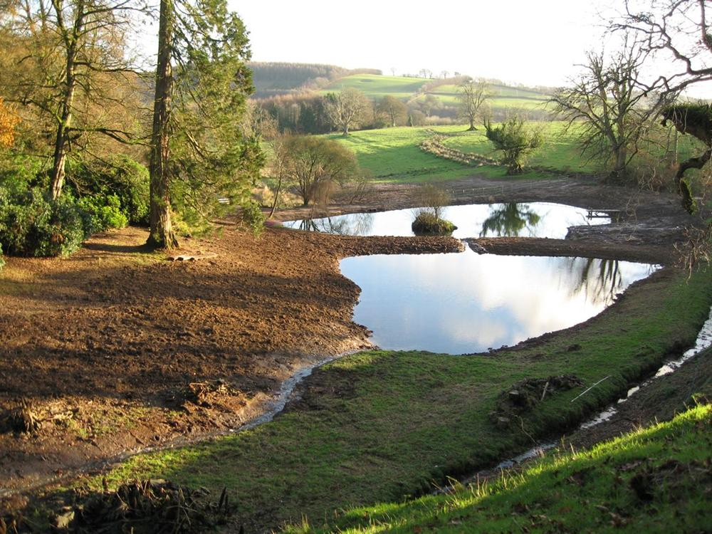Large lakes constructed and Lined at Bittiscombe Manor Somerset