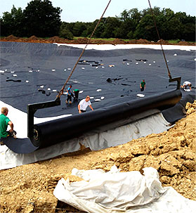 HDPE liner being installed on a lake in Devon