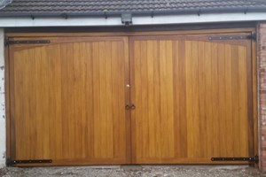 Alternative Flat Top Hardwood Garage Doors