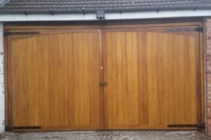 Alternative Flat Top Hardwood Garage Doors