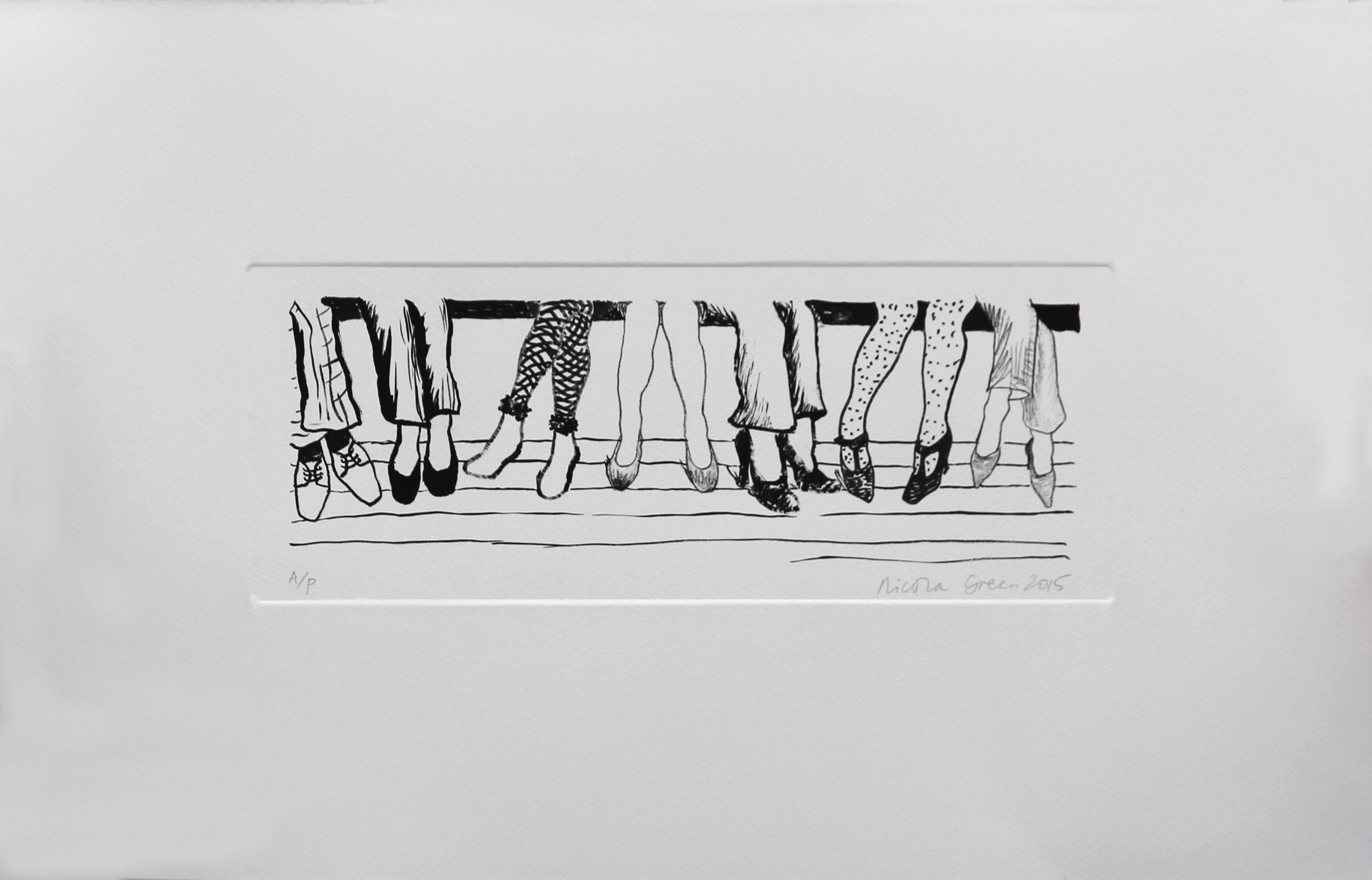 Feet 2015| H32.2 x W51.2 cm |Silkscreen print with water-based ink on 300 GSM cotton paper