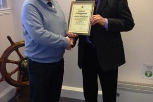 Capt Robin Lewis, Glasgow City College receiving his Certificate of Commendation from C&W Scotland PWC Chairman, Capt Martyn Clark upon his retirement from the PWC, Jan'14.