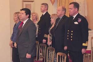 Guests at the Merchant Navy Medal ceremony in Gibraltar
