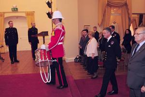 The Governor of Gibraltar arriving at the Merchant Navy Medal ceremony