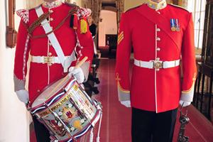 The Corp of Drums at the Merchant Navy Medal ceremony in Gibraltar