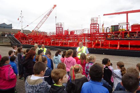 School children visiting the Port of Pembroke